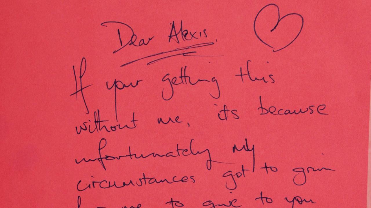 Tragic note found in children's book. Picture: Natalie Coleman/Facebook