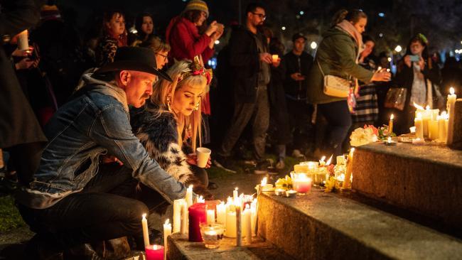 Hundreds of people turned out at a candlelight vigil in Elder Park to remember Eurydice Dixon. Picture: Matt Turner