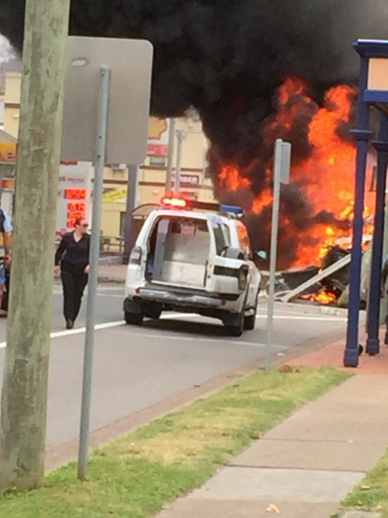 The truck smashes into the historic Royal Hotel. Picture: Rosie Dooley