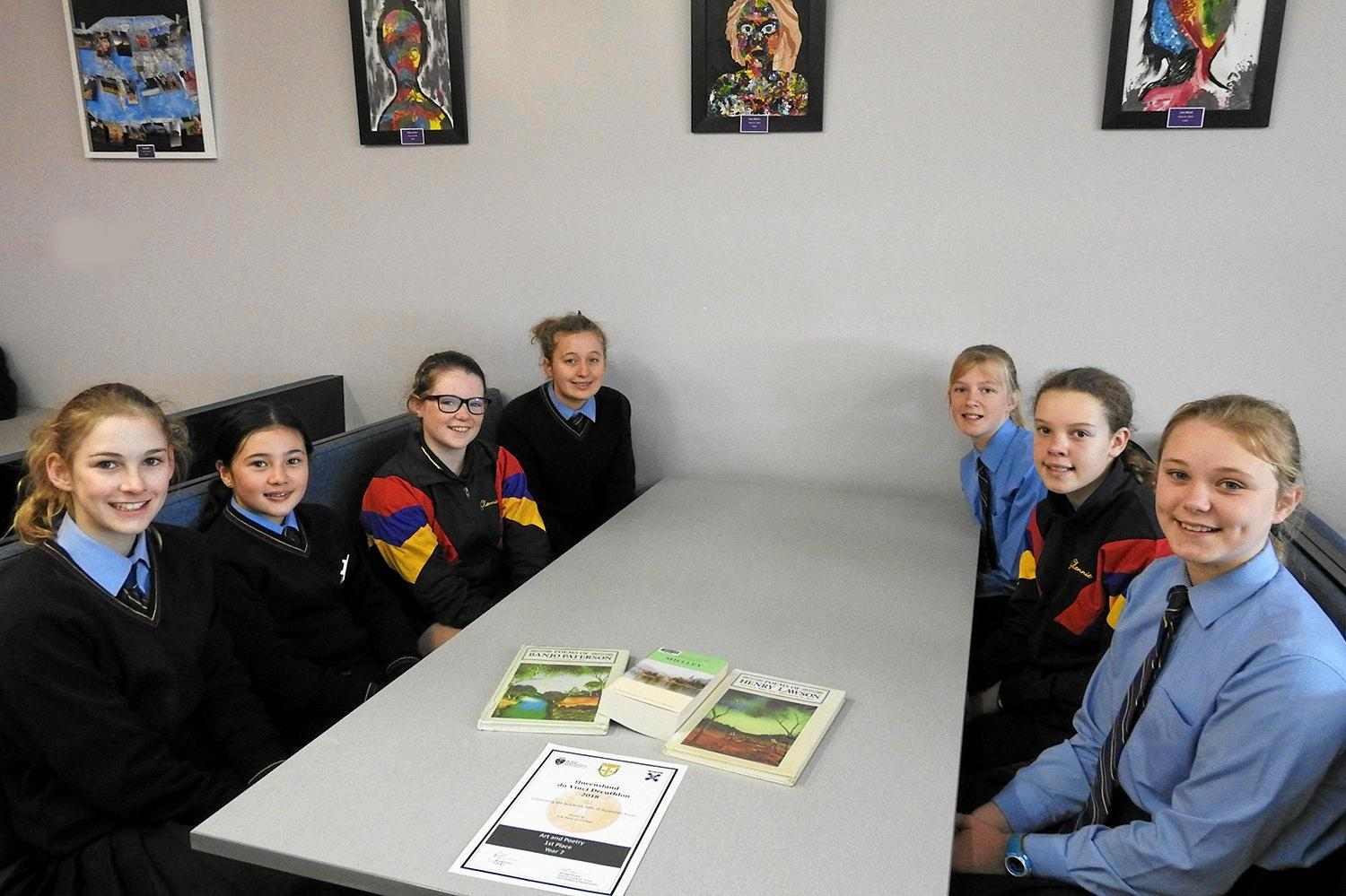 The Glennie School Year 7 students at the The da Vinci Decathlon Queensland event are (from left) Holly Beaton, Celeste Sun-Miller, Kristen Davies, Mia Brown, Brianna Whyte, Jessica Irwin at and April Smith.