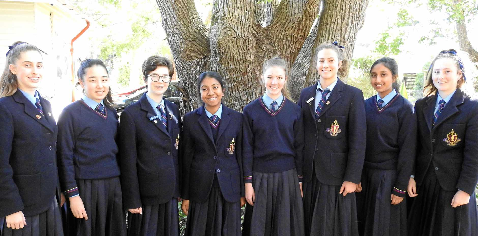 SMART STUDENTS: The Glennie School Year 9 students (from left) Amy Grant, Hana Doherty, Emma Donald, Sandali Gange, Olivia Taylor, Kari Donaldson, Apoorva Abeysundera and Genevieve Dean at The da Vinci Decathlon.