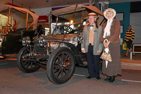 POP ON IN: Robert and Meryl Lovell from Lismore with their 1907 De Dion Bouton popped into last year's street party.