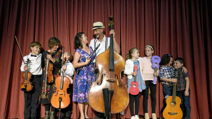 TALENT APLENTY: The competitors in the Family Section of the Lower Clarence Music Eisteddfod, Narelle O'Connell with grandchildren Ian and Tom Burgess, winners Sandy McCarthy and David Shannon, Grace and Sarah Johnson and Elena and Stanley Robertson.