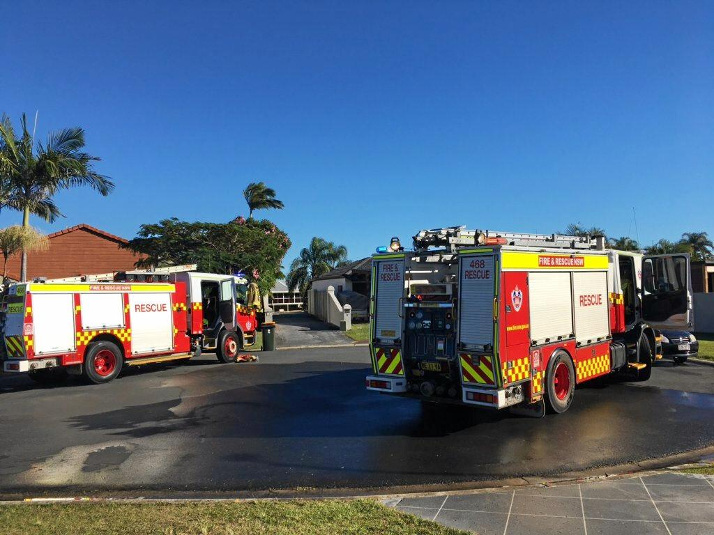 A fire, believed to have started in an air-conditioning unit, tore through a home at West Tweed this morning. 190618