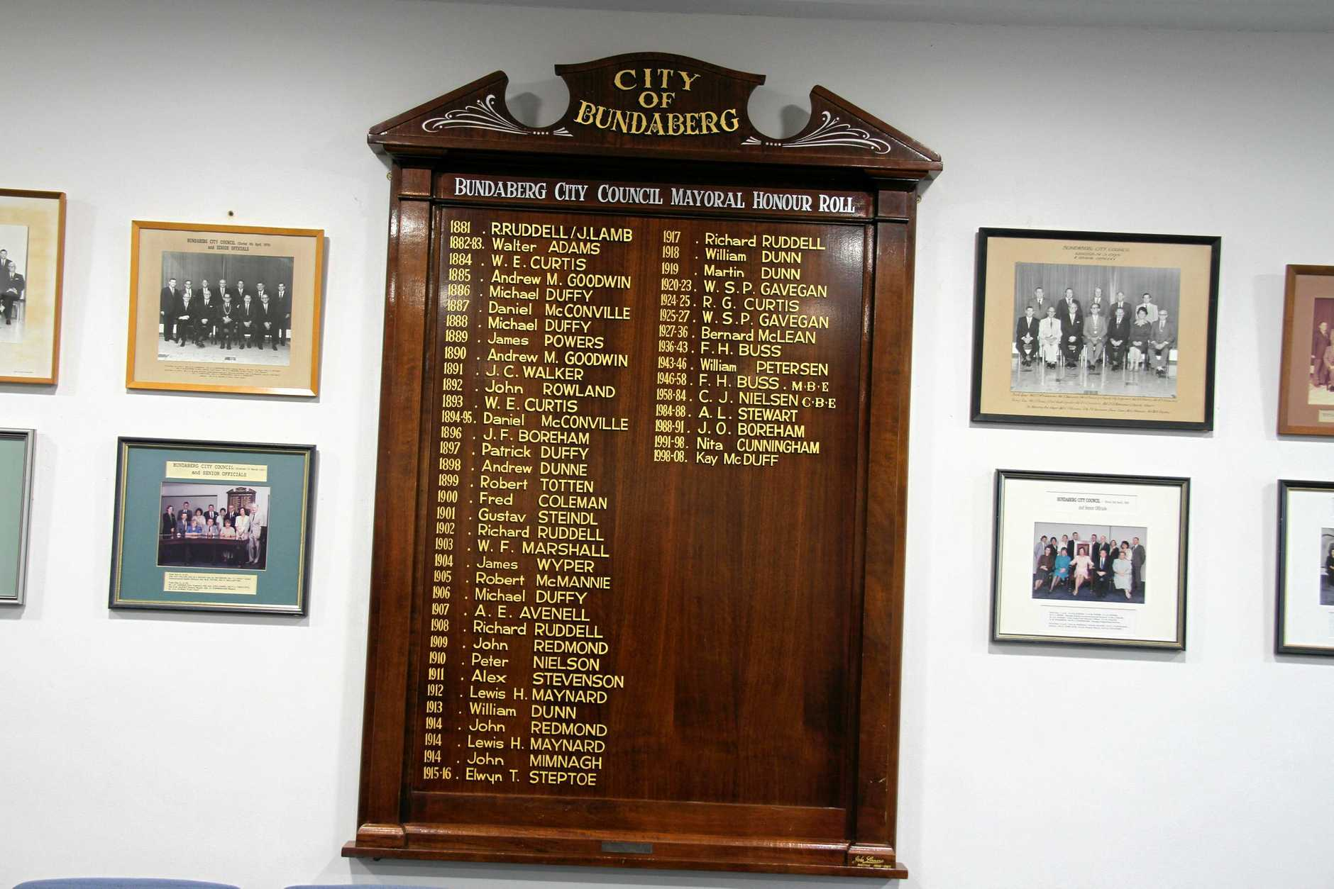 TOP SPOT: Bundaberg council's Mayoral Honour Roll lists Mr Lamb as one-time mayor.