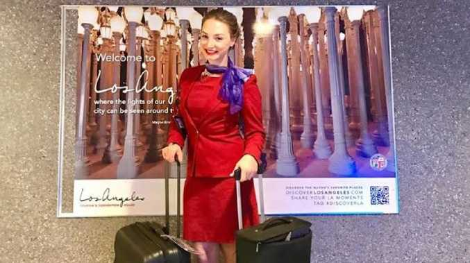 Virgin Australia flight attendant Lauren Gaynor has shared her best mid-flight beauty tips. Picture: Virgin Australia