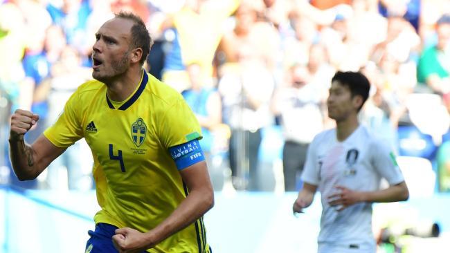 Sweden's defender Andreas Granqvist celebrates his goal. (AFP Photo)