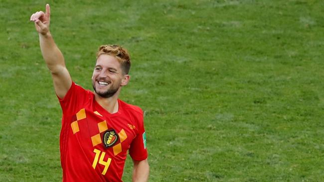 Belgium's forward Dries Mertens celebrates his goal.