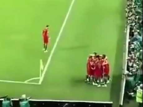 Portugal's Jose Fonte (separate from group) and his sensible play in Cristiano Ronaldo's hat-trick celebration. Pic: Twitter