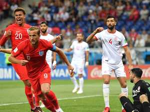 Kane double helps England save face against Tunisia