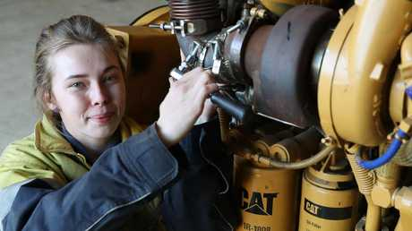 Ruby Horsley, 18, is second year apprentice mobile plant technician. Picture: Liam Kidston