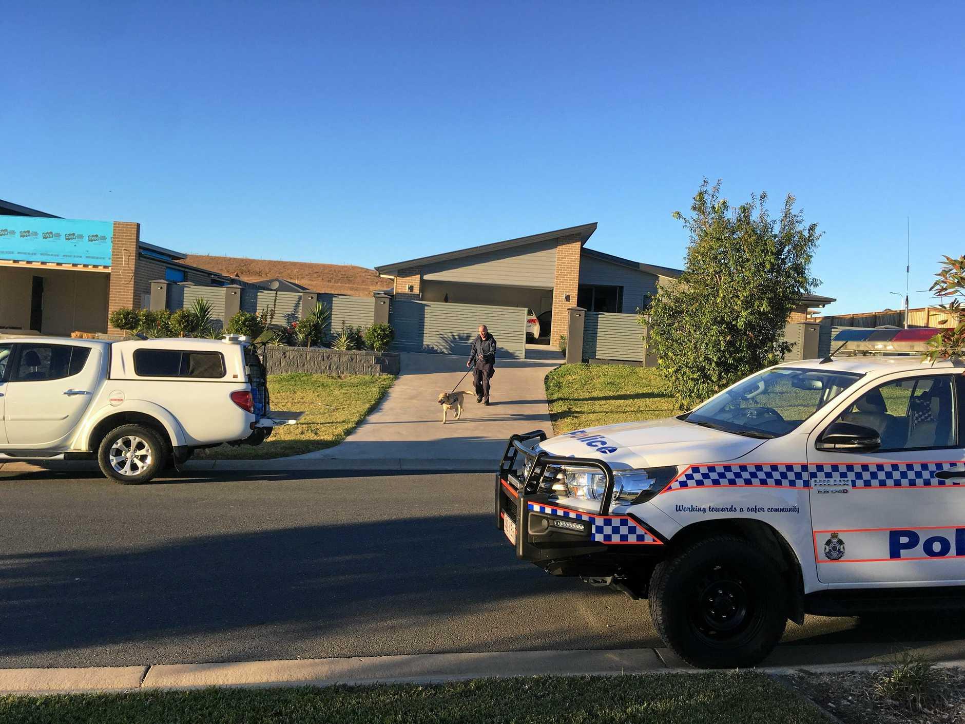 RAID: The dog squad was called to the Edenbrook Drive house raid.