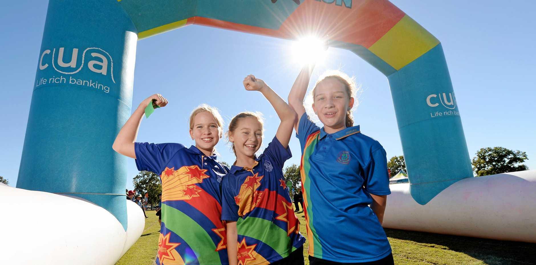 Mirani State school fun run. Year6 winners Hayley Wilkins, Darby Holmes and Jennah Whiting