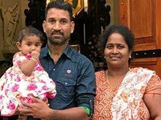 Nadesalingam holding 9-month-old Dharuniga and Priya with 2-year-old Kopiga.