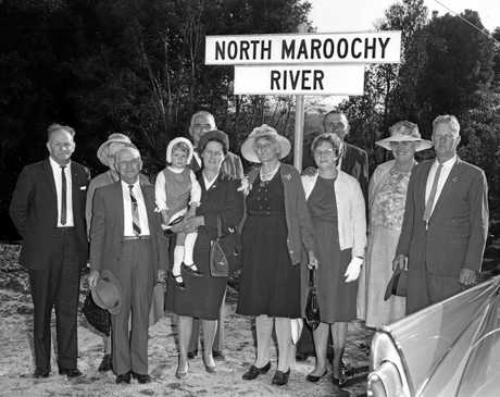 Maroochy Shire Councillors and official guests at the opening of the bridge over the North Maroochy River on the North Arm-Yandina Creek Road on 13 August, 1966.