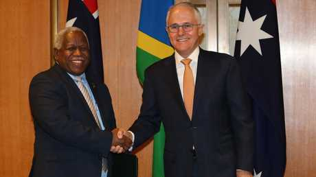 Prime Minister Malcolm Turnbull with the Prime Minister of the Solomon Islands, Rick Houenipwela. Picture: Kym Smith