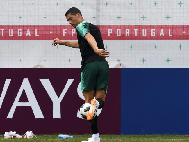 Portugal's forward Cristiano Ronaldo attends a training session at the team's base in Kratovo AFP PHOTO / Francisco LEONG