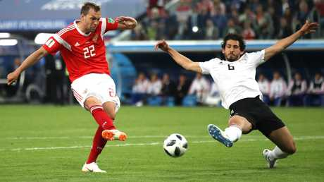 Artem Dzyuba of Russia scores his team's third goal during the Egypt clash. Picture: Getty