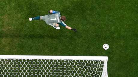 Russia's stand-in goalkeeper Igor Akinfeev watches a Mohamed Salah shot go wide. Picture: AFP