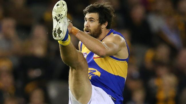 Josh Kennedy will miss one to three weeks with a fracture in his leg. Picture: Michael Klein