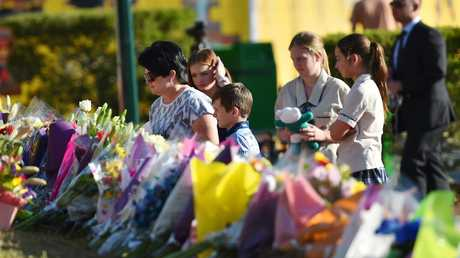 The floral tribute left at Dreamworld in the wake of the tragedy. Picture: Nigel Hallett