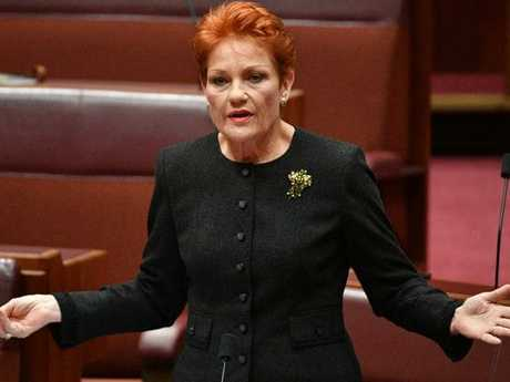 The vote of One Nation leader Senator Pauline Hanson and her colleague will be crucial in getting the coalition's income tax package passed. Picture: Mick Tsikas/AAP