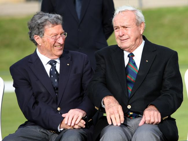 Peter Thomson and US golfer Arnold Palmer share a laugh ahead of the 2010 British Open. Picture: AFP/Peter Muhly