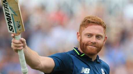 England's Jonny Bairstow salutes the crowd after being caught out for 139 during the match against Australia at Trent Bridge.