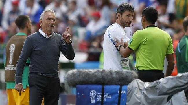 Bert van Marwijk reacts after a penalty was given against Australia. Picture: AP