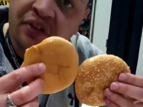 The man was not impressed by the size of the buns. Picture: Facebook