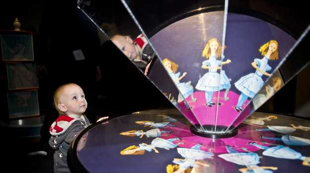 One year old Ryley Trapp is fascinated with Alice's Wonderland at Cobb & Co Museum. Thursday, 21st Jun, 2018.