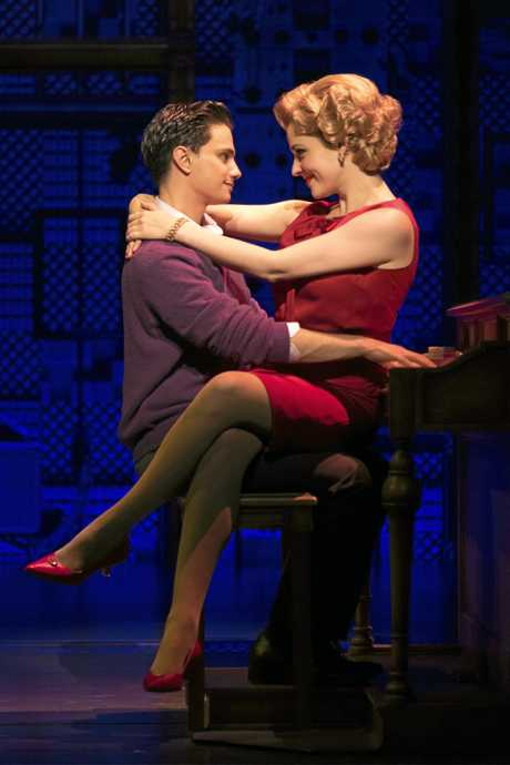 Mat Verevis as Barry Mann and Lucy Maunder as Cynthia Weil in a scene from Beautiful: The Carole King Musical. Supplied by QPAC.