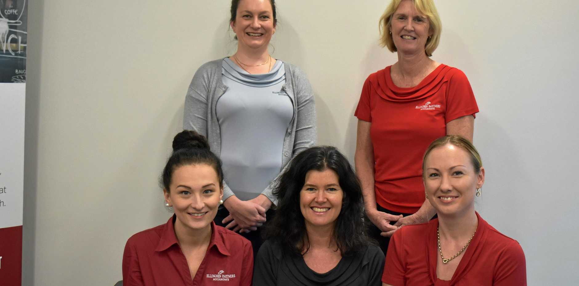 TEAM WORK: Part of Ben's team at Ellingsen partners are (back from left) Jenna Lawes and Fiona Smith and (front) Danielle Job, Shirley Mountfort and Bridget Green.