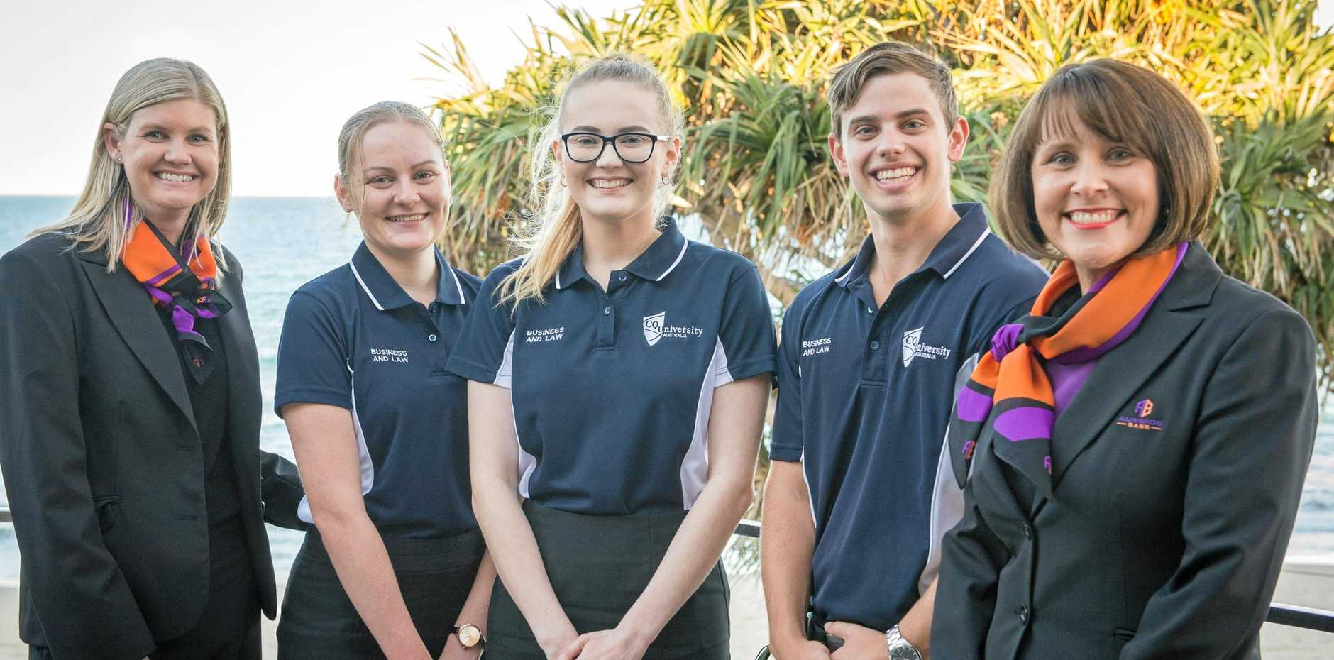 PROMISING STARTS: Auswide Bank's Tahnee Hrelja, CQUniversity students School of Business and Law Brooke Dunn, Caitlin Turnbull, Ryan Paul and Auswide's Bank Gayle Job, .