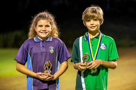 Gympie Junior Touch Grand Final 10-12 yr Pool A Players of the Final. Female - Moondara Mason from St Pats Lightning and Male - Zach Ward from Jones Hill 3