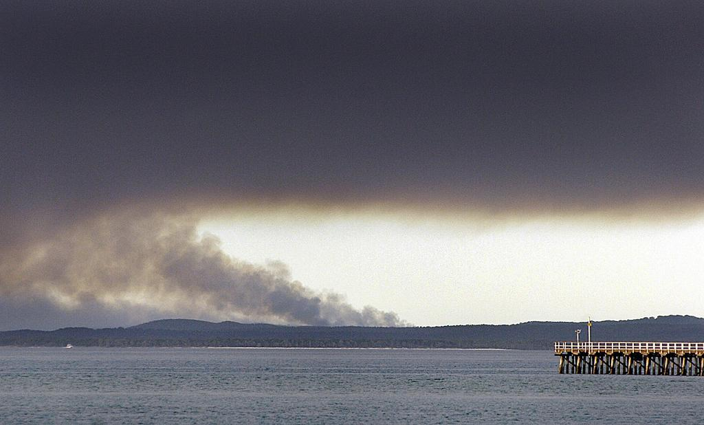 A fire is burning on Fraser Island.