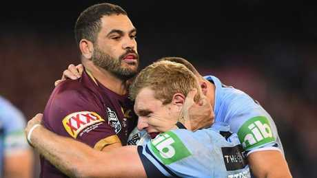 Greg Inglis and Tom Trbojevic battle in Origin 1. (Quinn Rooney/Getty Images)