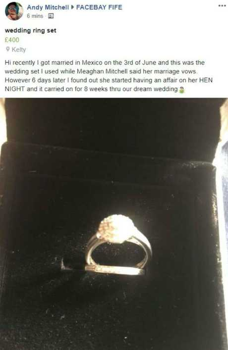 Andy put the wedding ring up online for sale after being left heartbroken.