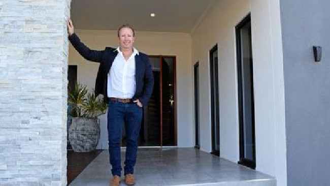 Metro Builders' Glen Finning at his $2.6m Lammermoor house. Picture: Madeline McDonald