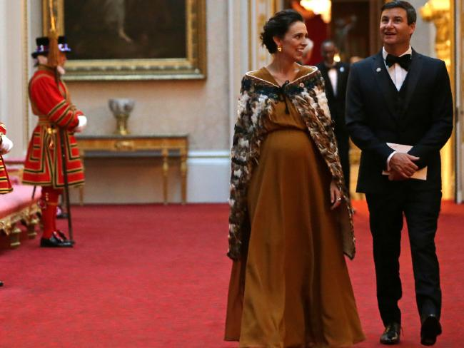 Ms Ardern in a Korowai, a traditional Maori cloak, at a reception at Buckingham Palace with partner Clarke Gayford.