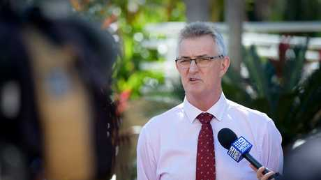Ken Davies CEO Territory Families speaks to the media on Wednesday. Picture: Patrina Malone