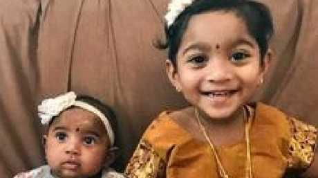 Tharunicaa, 1, and Kopika, 3, have been in detention with their parents, Nadesalingam and Priya, since March.  Picture: Supplied