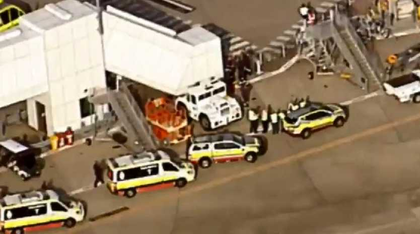 Aerial shots of the drama unfolding on the tarmac at Brisbane Airport. Picture: 7 News Brisbane
