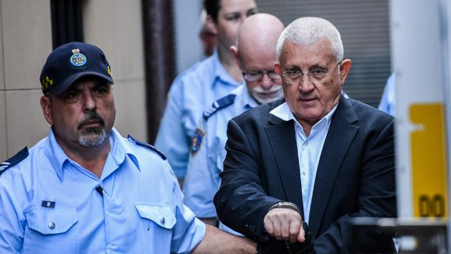 Ron Medich is escorted into a NSW Corrective services van at the New South Wales Supreme Court in Sydney. Picture: Brendan Esposito