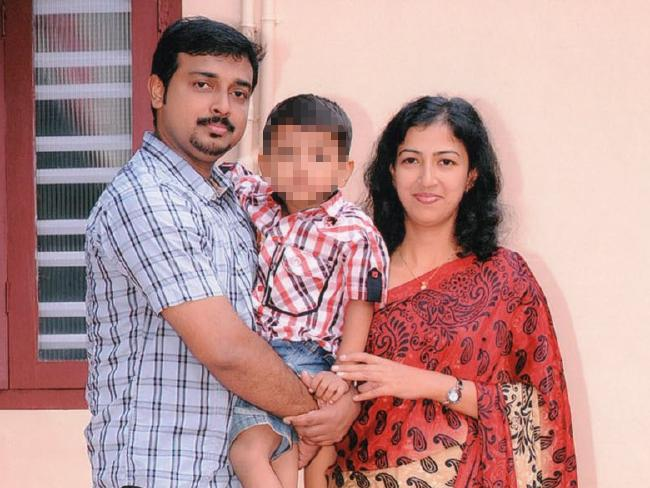 Sam Abraham with his wife, Sofia Sam, and their son, now 9.