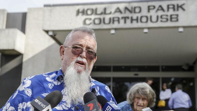 Glynn Harnell, the father of Yasmin McAllister, and his mother Lucy Harnell, address the media outside the Holland Park Magistrates Court in December 2017. Picture: AAP/Glenn Hunt