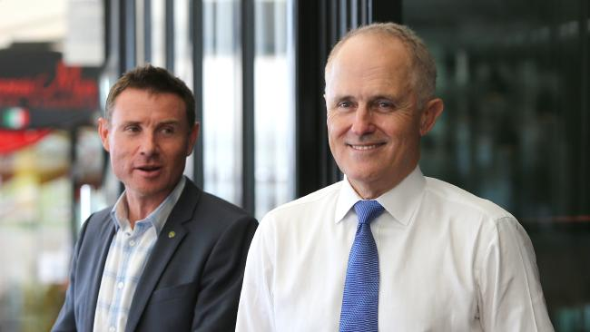 MP Andrew Laming with Malcolm Turnbull. Picture: Jono Searle