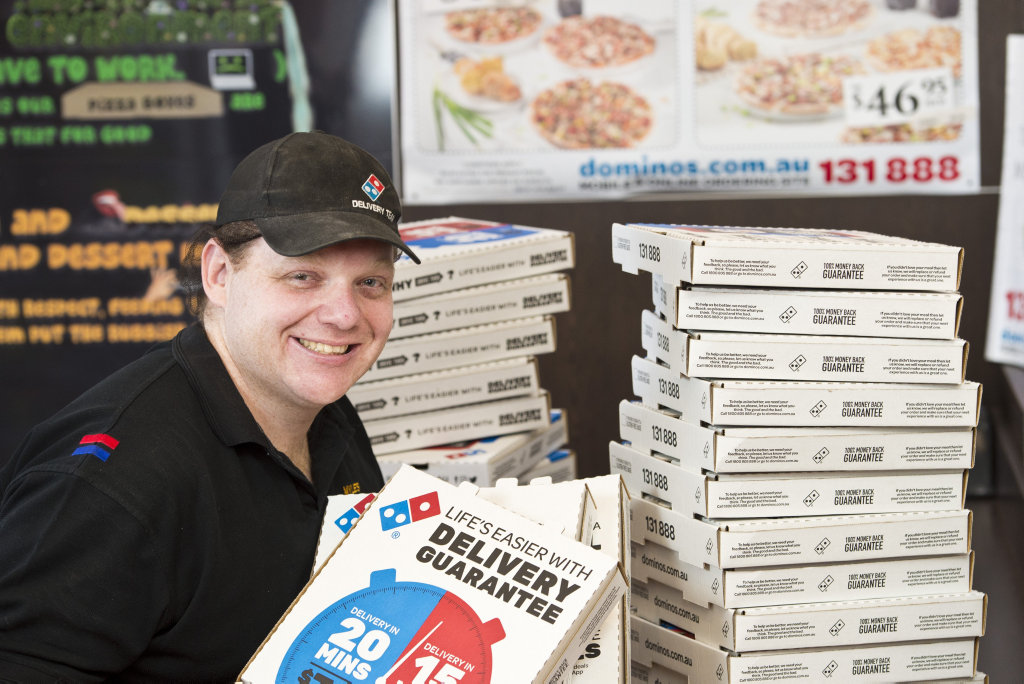 Myles Copson of Westridge Dominos Pizza is excited the store sold the most pizzas of any store on the night of the first State of Origin game, Friday, June 22, 2018.