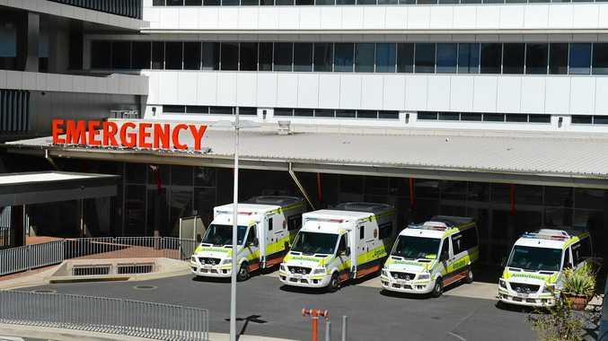 Rockhampton Four ambulances parked outside the Emergency Department at the Rockhampton Hospital. Photo: Chris Ison / The Morning Bulletin
