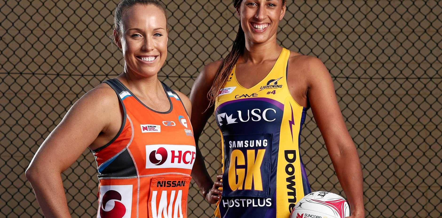 ELECTRIC: Sunshine Coast Lightning are determined to make the most of their game against Giants today. Pictured is Giants captain Kimberlee Green and Lightning captain Geva Mentor.